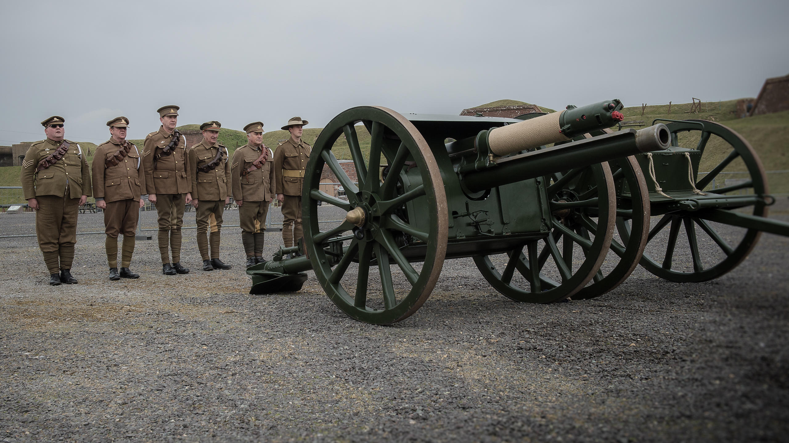 WW1 Battle Re-Enactors Firing Cannon at Fort Nelson, Hampshire