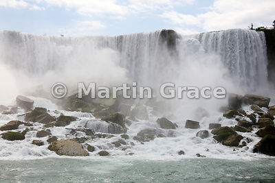 American Falls, Niagara Falls, New York, USA photographed from the Niagara River