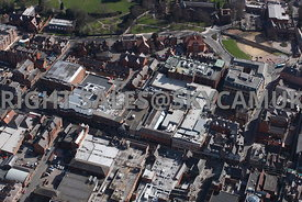 Chester aerial photograph of Foregate Street a retail shopping area of Chester