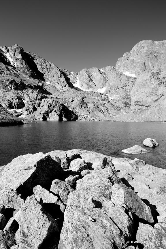 SKY POND ALPINE LAKE ROCKY MOUNTAIN NATIONAL PARK COLORADO BLACK AND WHITE VERTICAL