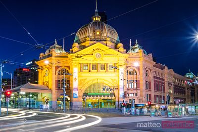 Melbourne, Victoria, Australia. Flinders station at night