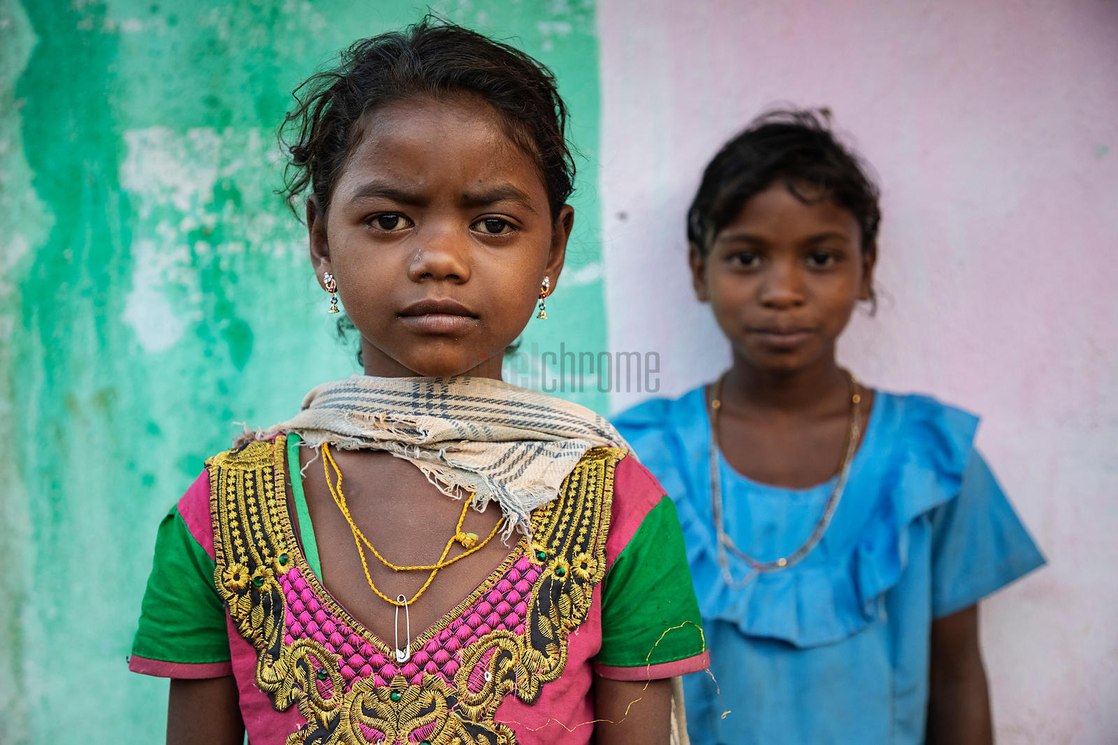 Portrait of Two Young Girls at Minapai Village