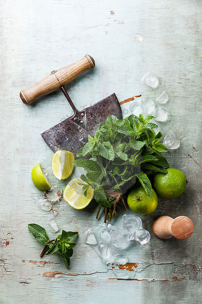 Ingredients for making mojitos Ice cubes, mint leaves and lime on blue background