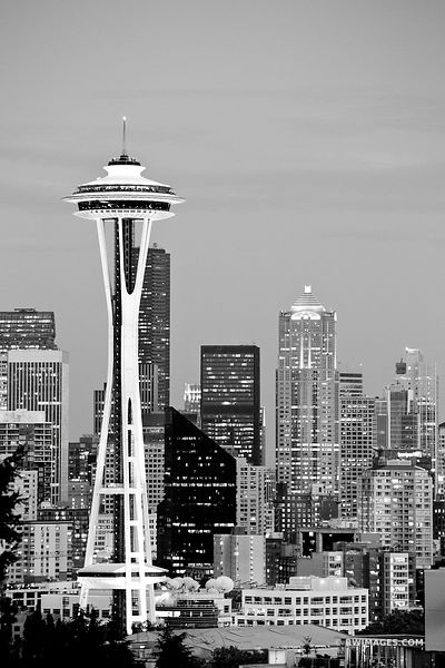 SEATTLE SKYLINE SPACE NEEDLE EVENING BLACK AND WHITE VERTICAL