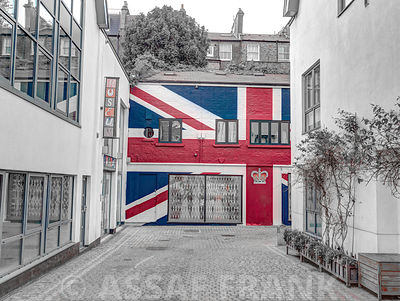 British Flag painted on wall of house in Notting Hill, London