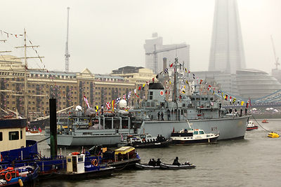 The Hunt-class Minesweeper HMS Hurworth, M39 in The  Thames River Pageant