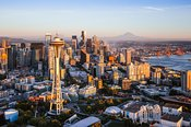 Aerial view of The Space Needle and skyline with Mt Rainier, Seattle