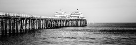 Malibu Pier Black and White Panorama Picture