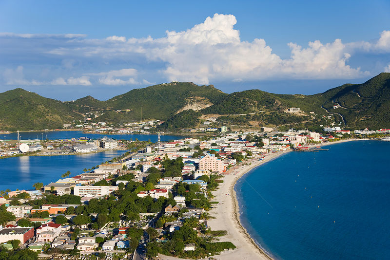 Elevated view over Great Bay and the Dutch capital of Philipsburg, Netherlands Antilles, St Martin, Leeward Islands, Caribbea...