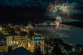 Celebrations of Russian X-Mas with firework in St.Moritz