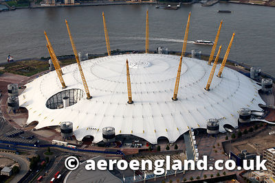 aerial photograph of the 02 Arena  London UK