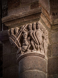 Capital of Brioude 's basilica depicting riders