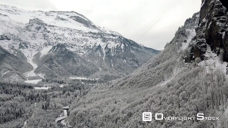 Fresh snow fall at the SixtFeràCheval region of the high alps of France.