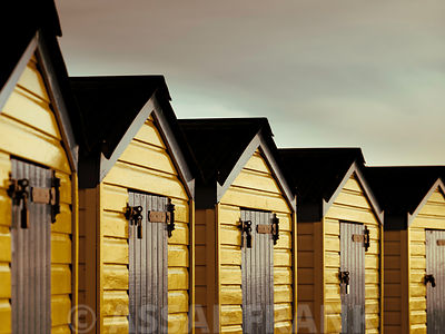 Beach huts close-up