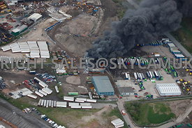 Plume of Black Smoke caused by fire at recycling plant Salmon Fields Oldham