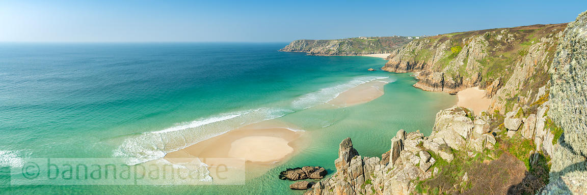 Pedn Vounder beach from Treen cliffs, Porthcurno, Cornwall - BP6700