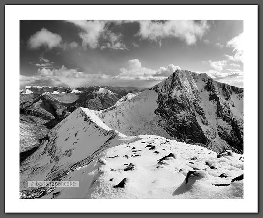 Carn Mor Dearg and the North Face of Ben Nevis Black and White Print (BP2510BW)