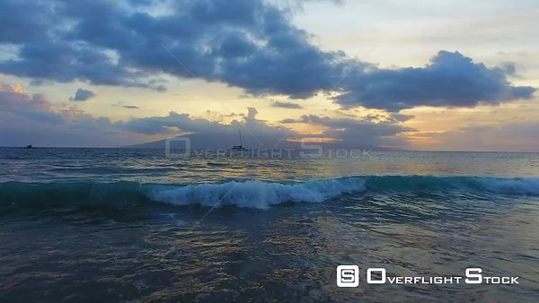 Ocean Sunset Hanakaoo Point West Maui Hawaii Drone Video