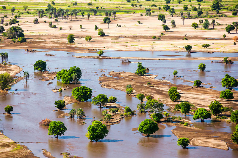 Farmland flooded and covered in debris after the January 2015 flooding, Malawi, March 2015.