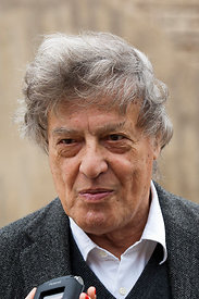 Tom Stoppard at a press conference in Rome at the India Theatre to support the Belarus Free Theatre.