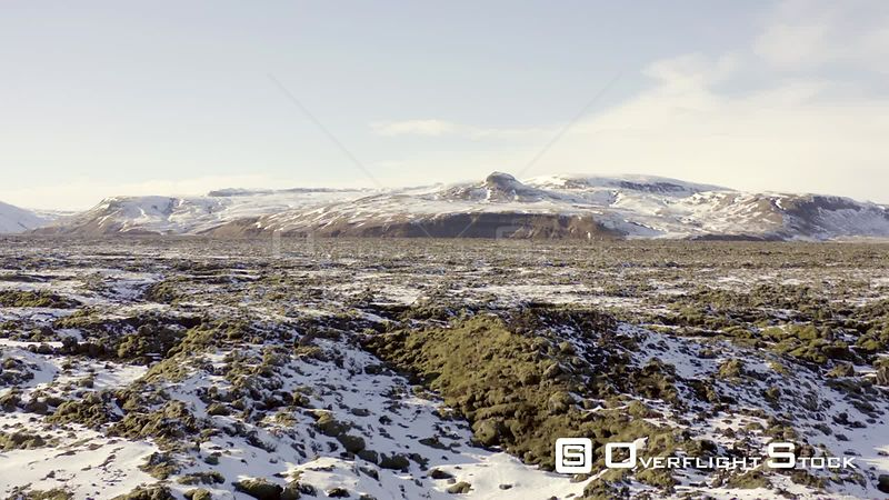 Mossy Lava Fields of Iceland in the Winter Flyover