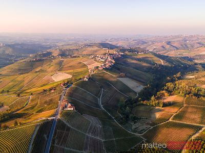 Aerial view Serralunga d'Alba and vineyards, Piedmont, Italy