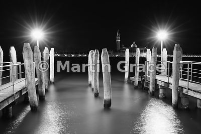 Black & white conversion of Bacino di San Marco (St Mark's Basin) with San Giorgio Maggiore (church) beyond, at night, Venice...