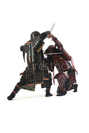 Two Samurai warrior fighting- shot from mid-level.