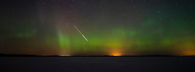 A meteor above lake Päijänne on March 15 2018.