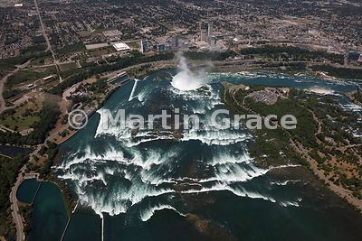 Rapids at the outflow of Lake Erie north-west over Canadian Horseshoe Falls, from the air, Niagara Falls, Canada & USA