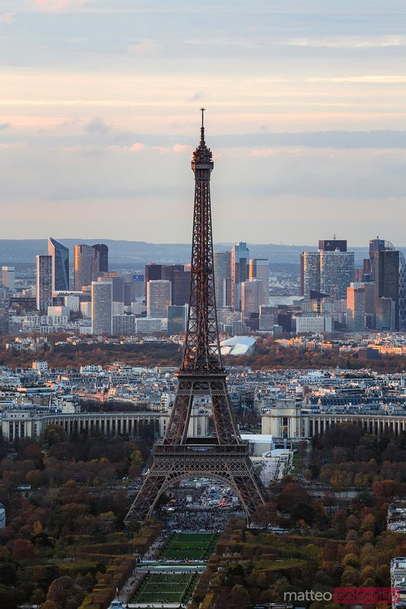 Eiffel tower and Paris skyline at sunset, France