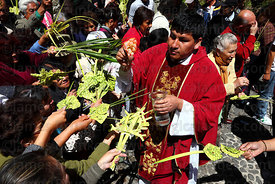Priest blessing ornaments and crosses made out of palm leaves on Palm Sunday , La Paz , Bolivia