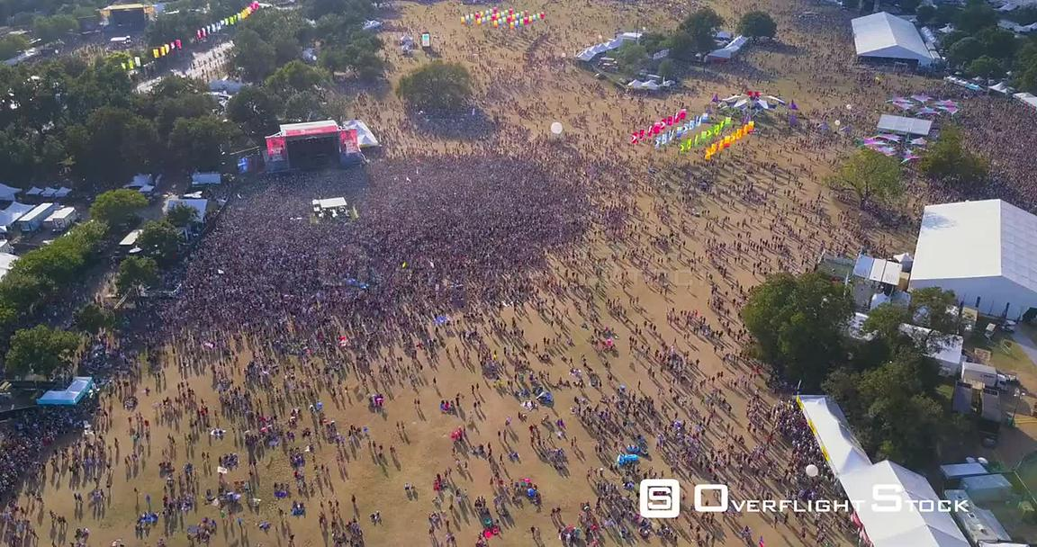Aerial Drone Video TimeLapse Austin City Limits Music Festival Texas