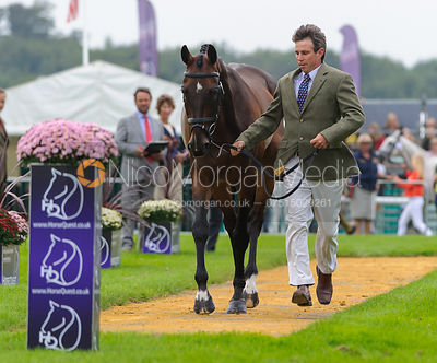 Sam Griffiths and HAPPY TIMES - The first vets inspection (trot up),  Land Rover Burghley Horse Trials, 3rd September 2014.