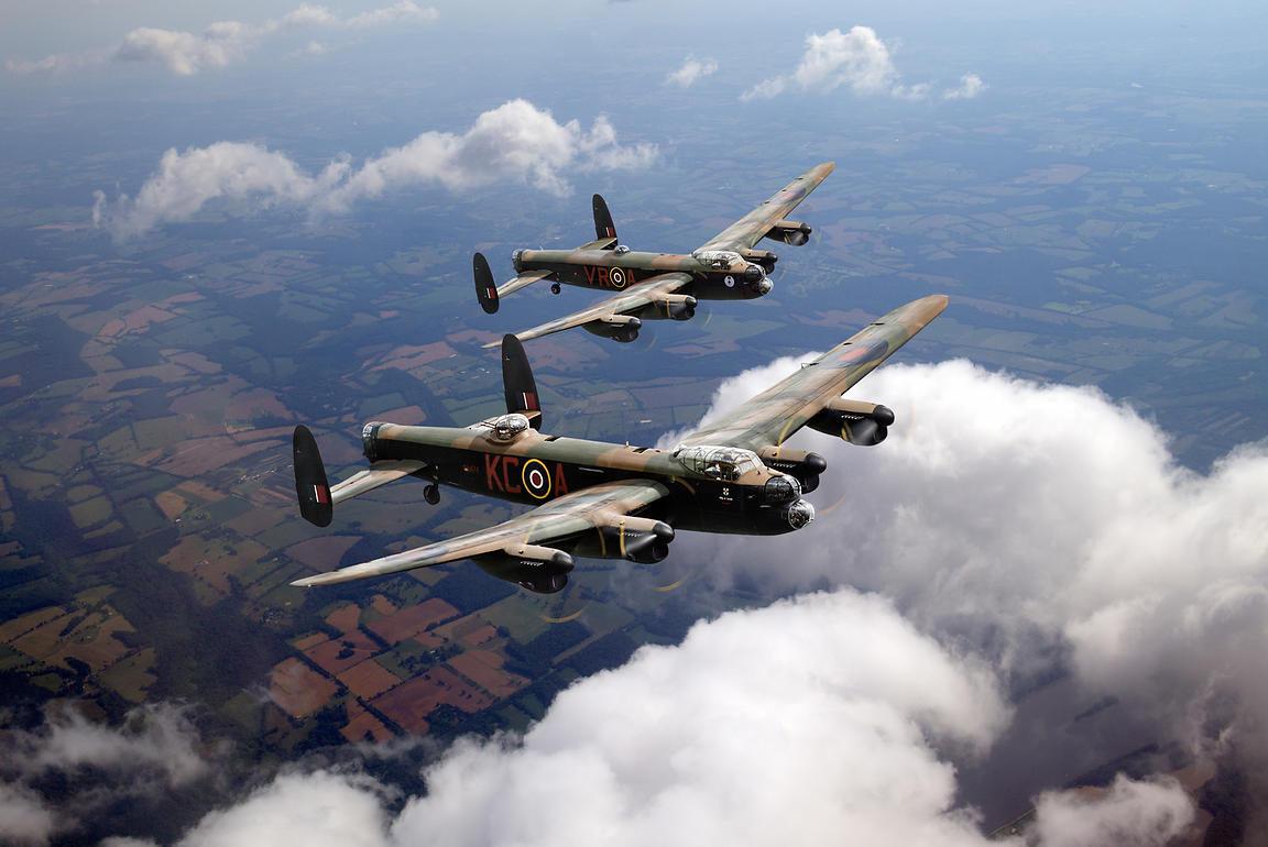 Birds of a feather - two Lancasters on tour