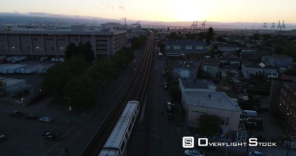Drone Video Westbound Oakland BART to San Francisco California