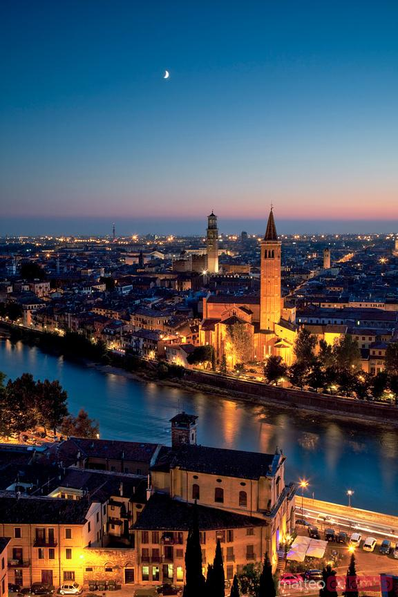 Verona at sunset, Veneto, Italy