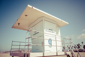 Huntington Beach Lifeguard Tower Retro Photo