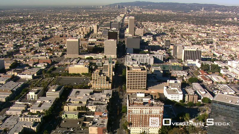 Flying over Wilshire Center area in Los Angeles.