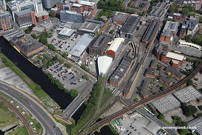 aerial photograph Liverpool Road railway station Manchester England UK.