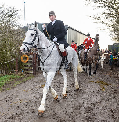 Shaun Cripps leaving the meet. The Cottesmore Hunt at Launde Park Farm