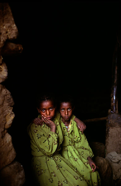 Two Ethiopian girls in their hut