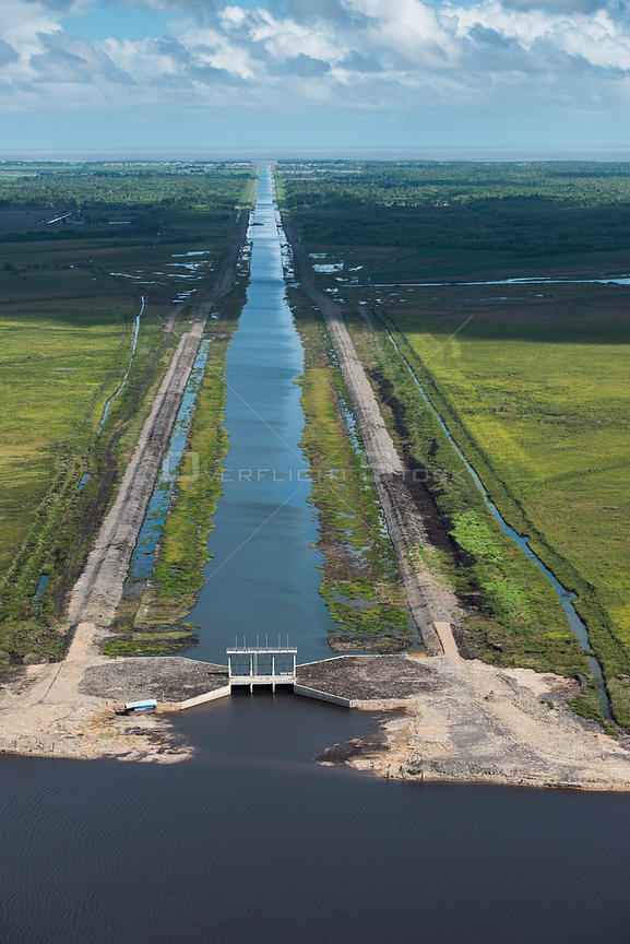 Hope canal, an irrigation canal in East Demerara Water Conservancy (for sugar cane and rice production) coastal area of Guyan...