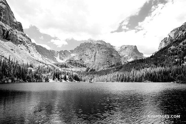 LOCH VALE LAKE ( THE LOCH ) ROCKY MOUNTAIN NATIONAL PARK COLORADO BLACK AND WHITE LANDSCAPE