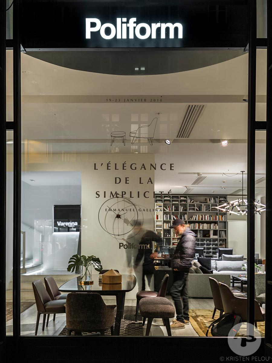 Retail architecture photographer - Showroom Silvera Poliform, rue du Bac, Paris, France. Photo ©Kristen Pelou