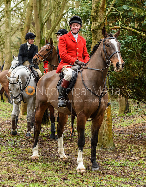 Tom Kingston leaving the meet at Eaton Grange. The Belvoir Hunt at Eaton Grange 7/2