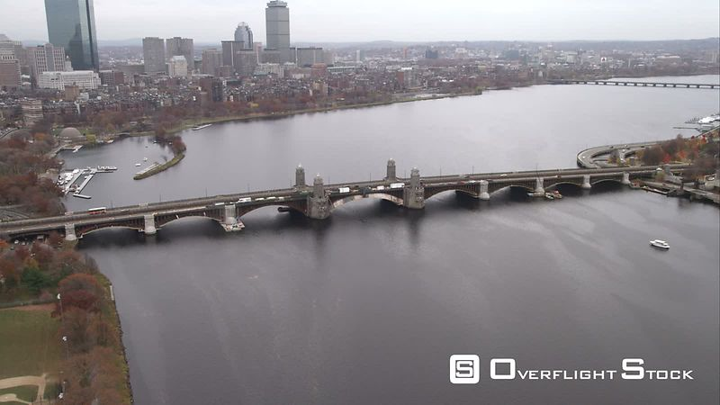 Approaching and Flying Over Harvard Bridge on the Charles River, Boston. Shot in November