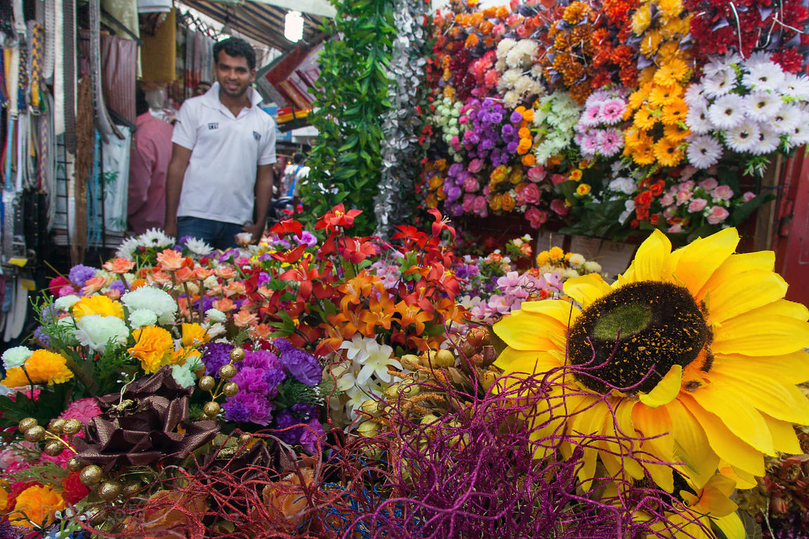 Plastic flowers for sale at Crawford Market, Mumbai, India,
