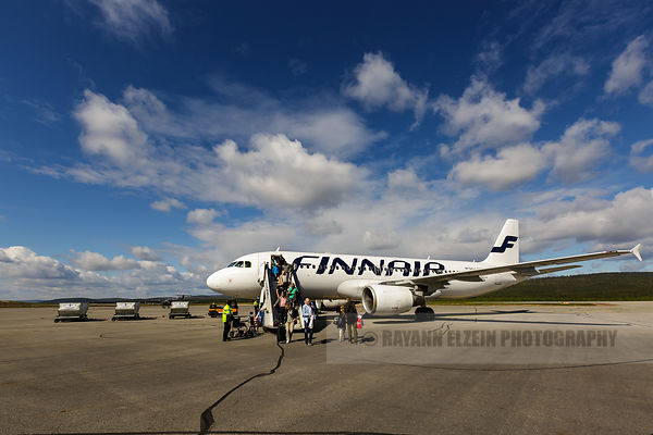 Finnair plane at Ivalo airport in Lapland