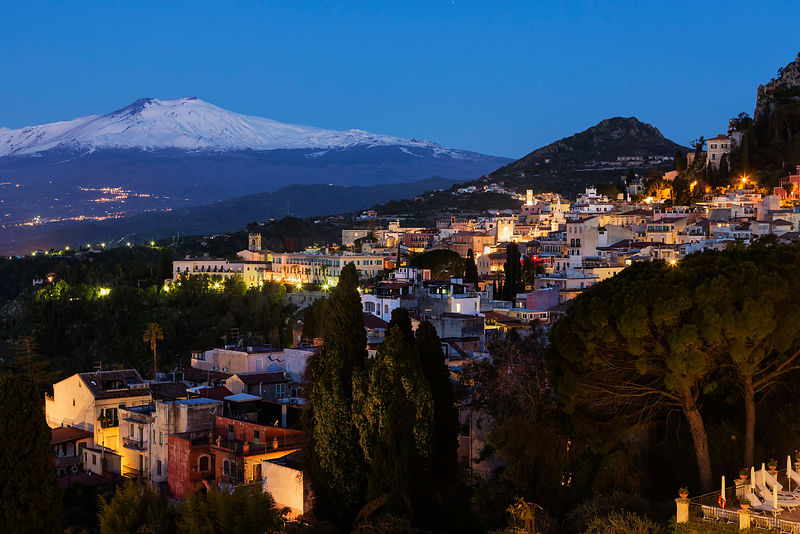 Taormina at Dawn with a Snowy Mt Etna in the Background